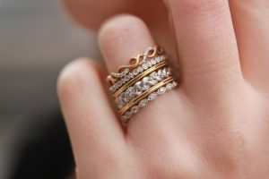 stackable wedding bands worn as a fashion accessory or worn with your engagement ring - Stacked Wedding Rings