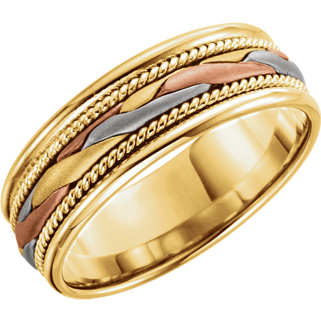 14k White Rose And Yellow Hand Woven Mens Band Estimated Price 1162 00