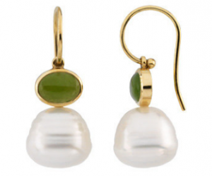 Jade and Pearl earrings set in 14kt yellow gold.